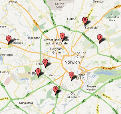Link to google map showing the Norwich Parks courts