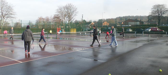 Tennis on Hednesford Park, rain or shine - picture by Nathan Farrell