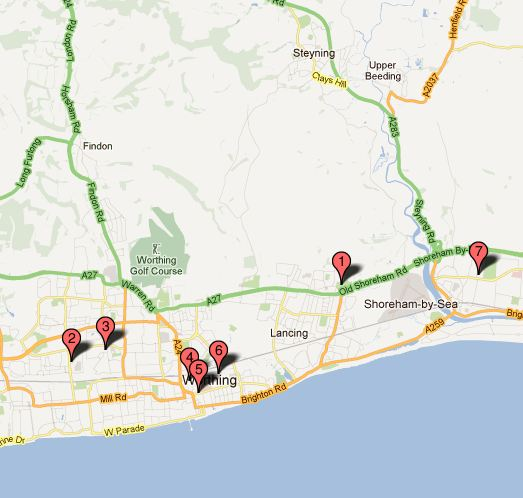 Link to google map showing the Adur and Worthing public courts